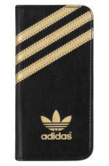 Adidas puzdro knižka Apple Iphone 5/5C/5S/SE čierno-zlaté bočné