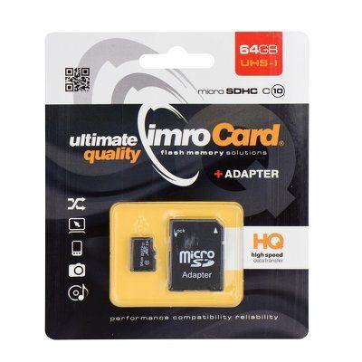 Pamäťová karta 64GB Imro microSDHC class 10 s adaptérom PT