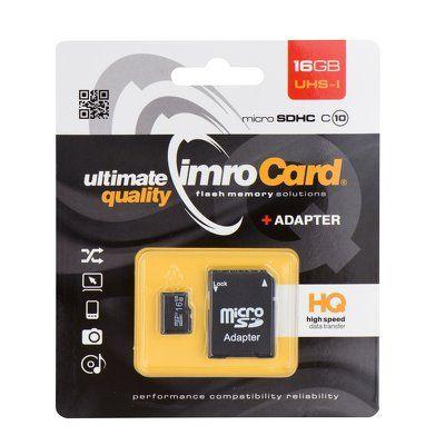 Pamäťová karta 16GB Imro microSDHC class 10 s adaptérom