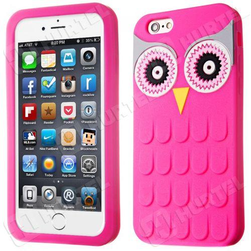 Puzdro gumené Apple iPhone 6/6S sova ružové HT