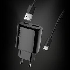 Adapter Sturdo sieťový nabíjací s káblom 2xUSB 2A čierny